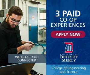 3 paid coop experiences at Detroit Mercy College of Engineering